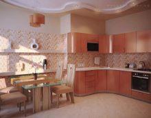 Persiku krāsa virtuves interjerā